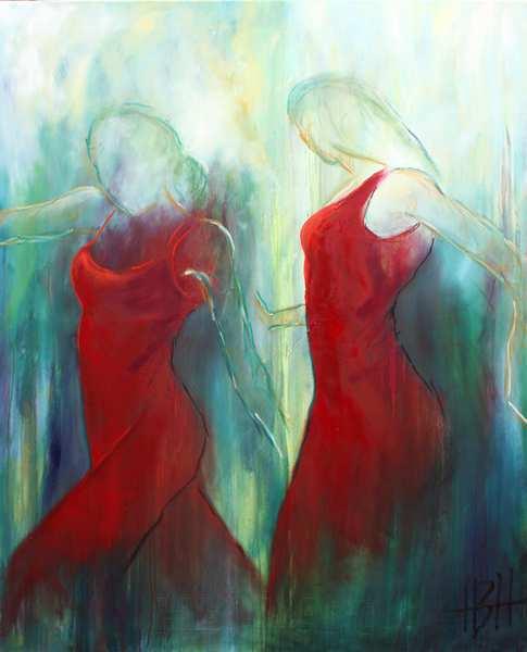 Maleri af flamencodansere i røde kjoler