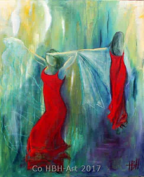 maleri af to flamencodansere i røde kjoler med sjal. Baggrunden er abstrakt i blå, grønne og gule farver