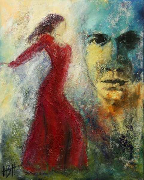 maleri af flamencosangeren Cameron de la isla og en flamencodanser
