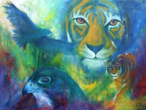oliemaleri af tigre og ørne. De kigger lige på dig og følger dig med øjnene
