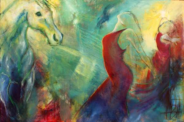 spirituelt maleri af healende hest og danser