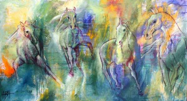 maleri af fire heste