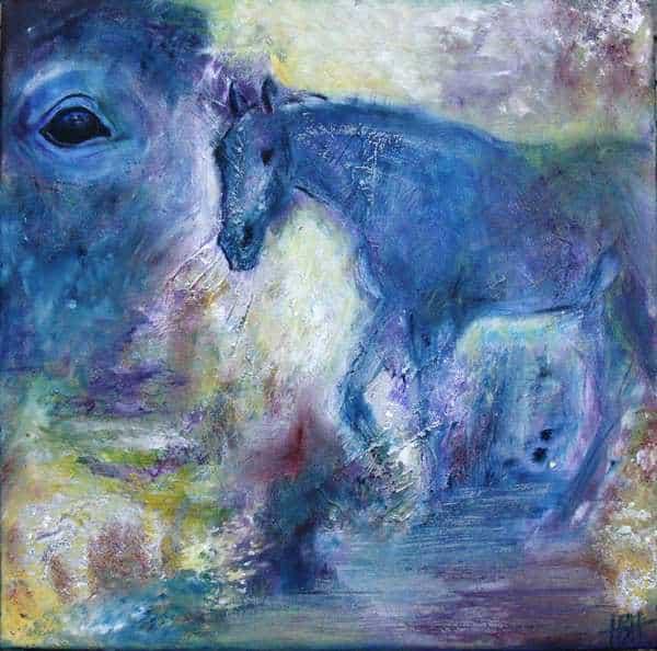 Hesteportræt i blåt af hesten Aros. Hele hesten og et udsnit med bare øjet