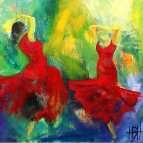 Bål-tale kunstkort kunstkort 15 X 15 cm med print af flamenco dansemaleri af dansere i røde kjoler. Malet i olie på lærred