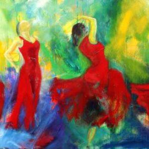 Maleri af fire dansende kvinder i røde kjoler på en baggrund af blåt, grønt og gult.