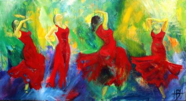 Maleri af fire dansende kvinder Maleri køb