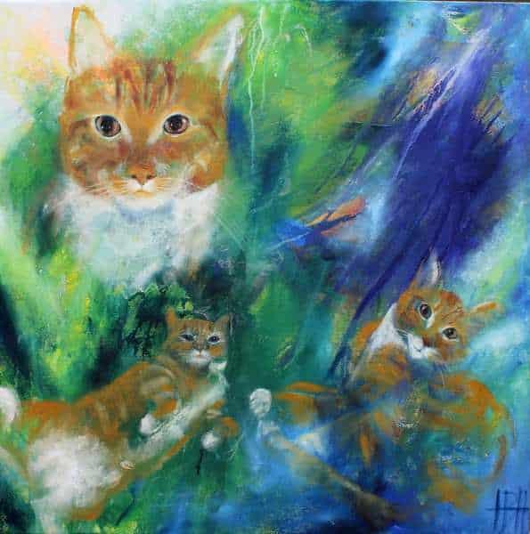 Portræt af katten Bølle på en baggrund af blå og grønne farver