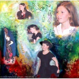 malekursus hvor du lærer at male et lignende maleri med fotos af pige i forskellige aldre