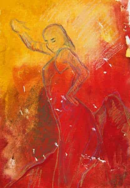 Akvarel flamencodanser med rød kjole i varme farver