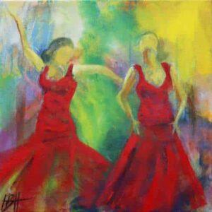 Begrænsning en illusion kunstkort - kunstkort 15 X 15 cm med print af flamenco dansemaleri af dansere i røde kjoler. Malet i olie på lærred