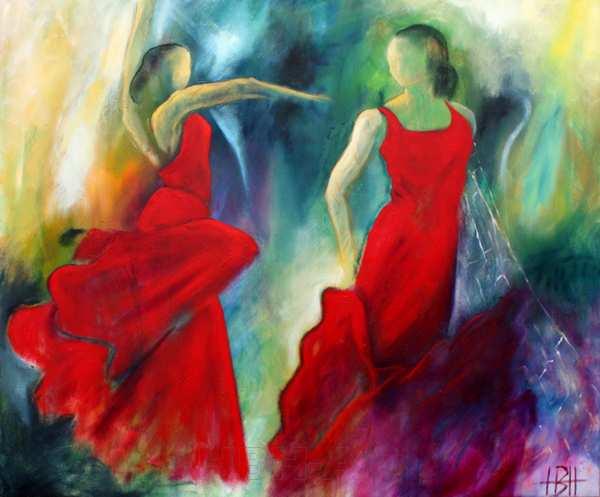maleri af røde kvinder der danser flamenco