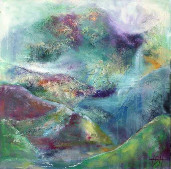 Maleri af bjerge som er malet til afstresning. Bjergene omkring den sydspanske by Competa er et magisk landskab, der giver ro. Dette bjergmaleri er inspireret af disse bjerg