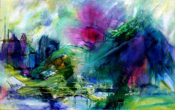 Abstrakt fantasilandskab med bjerge i blå og violette farve
