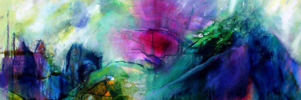 Abstrakt natur maleri som er en blanding af abstrakt og landskabsmaleri og fantasilandskaber