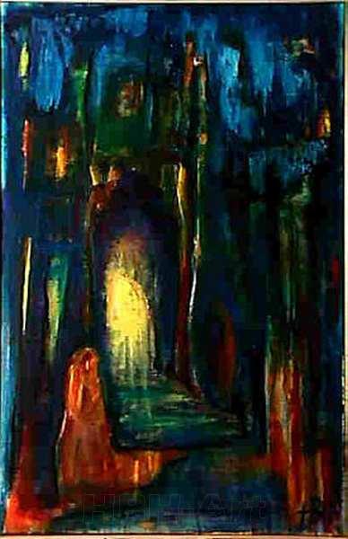Maleri af en grotte fyldt med lysindfald