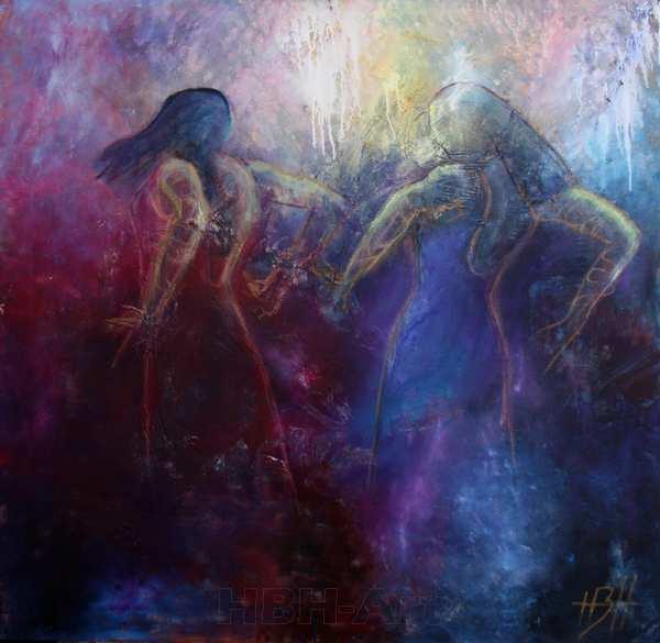 maleri af kvinder i blå og røde farver