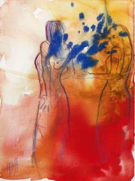 Akvarel af flamencodanseer i varme farver med blåt i