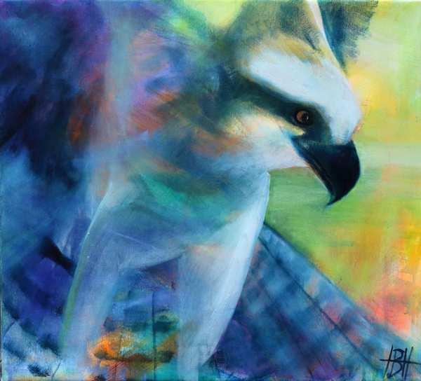 Maleri af ørn i blå farver. Baggrundens mange farver skinner gennem ørnens blå farve