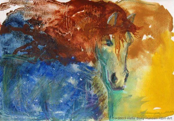 Akvarel maleri af blå hest med rødbrun man