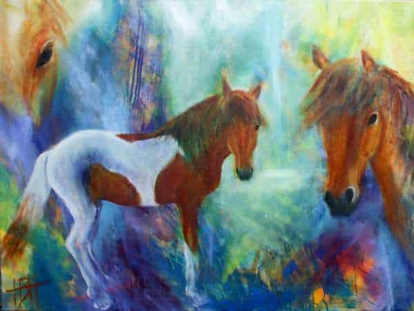 hesteportræt af broget islænder malet på blålig baggrund