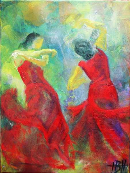 farverigt maleri af dansende kvinder i røde kjoler