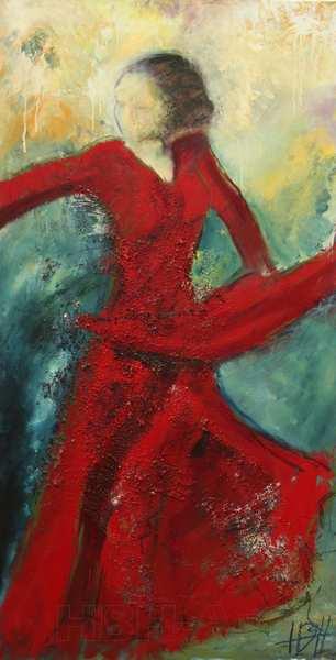 flamenco maleri af danserinde, der svinger med skørtet