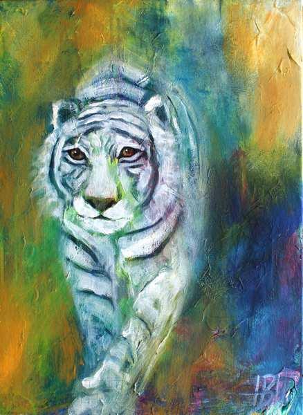 maleri af hvid tiger, der kommer gående lige imod dig