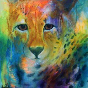 Truede dyrearter. Maleri af gepard - cheetah