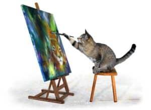 kunstmaler katten maler selvportræt af los