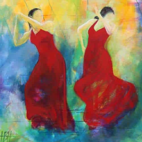 Columbiana kunstkort kunstkort 15 X 15 cm med print af flamenco dansemaleri af dansere i røde kjoler. Malet i olie på lærred