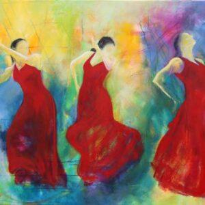 Maleri af tre flamencodansere i røde kjoler på en farverig baggrund