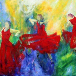 Maleri af tre dansere i røde kjoler