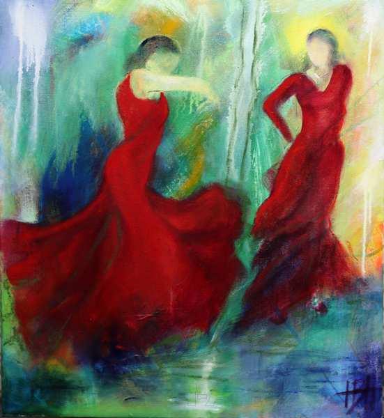 maleri af dansende kvinder der danser i det blågrønne vand