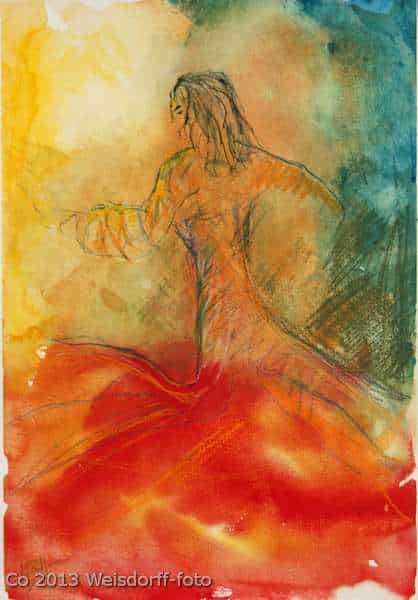 Farverig akvarel af flamencodanser i bevægelse