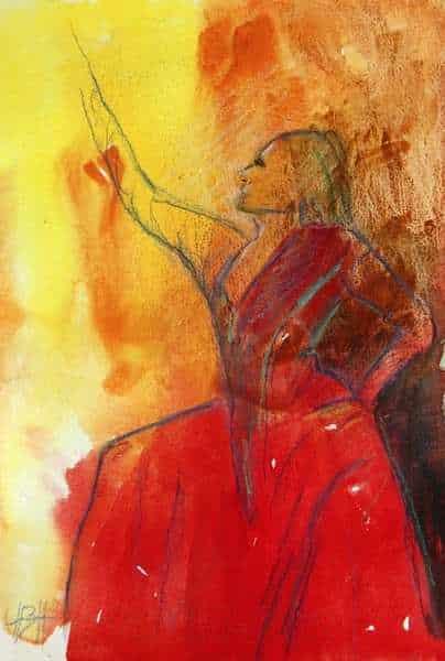 Akvarelmaleri i varme farver af flamencodanser, der starter dansen siddende