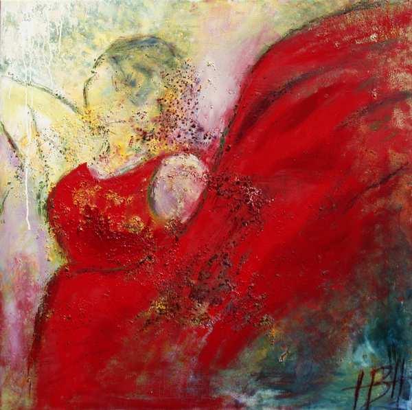 maleri af danser der svinger med sin røde kjole som vinger