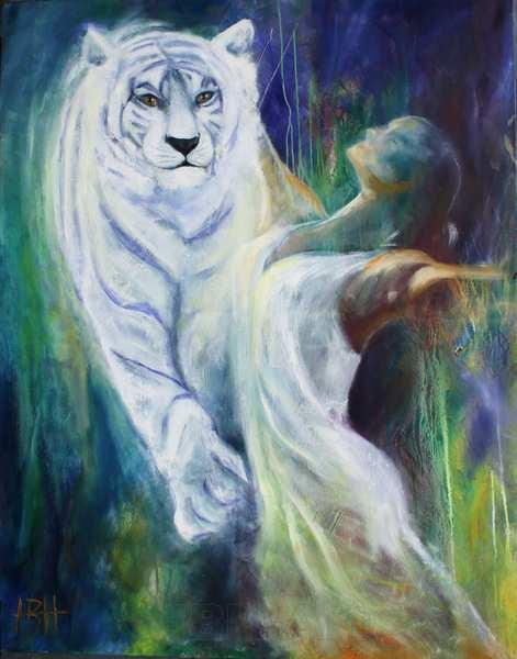 maleri med hvid tiger og danserinde