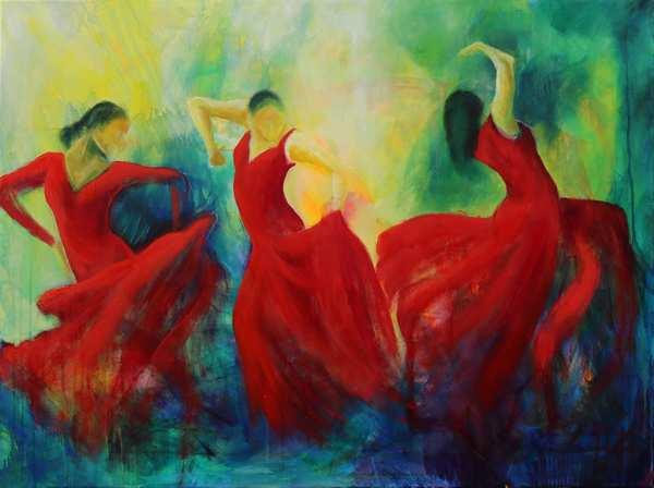 maleri af dansere - flamencodansere i røde kjoler