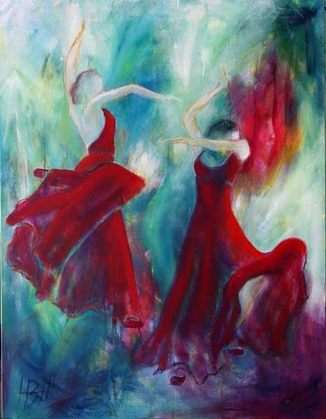oliemaleri af dansende kvinder i røde kjoler på blålig baggrund