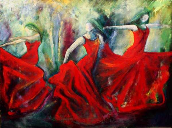 oliemaleri med røde dansere