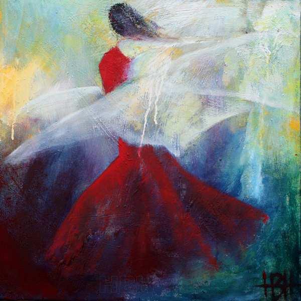maleri af dansende kvinde med sjal