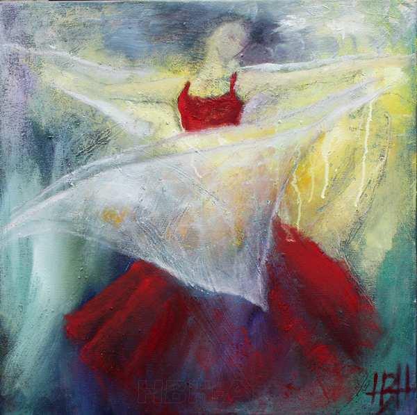 maleri af flamencodanser med sjal