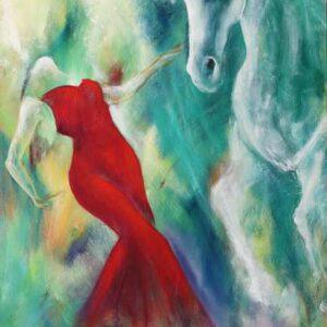 maleri af dansende kvinde og hvid hest