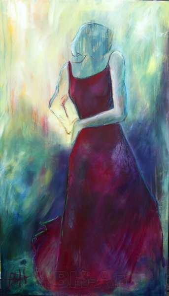 flamenco maleri af en danser i mørkerød kjole