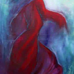 Maleri af flamencodanser som passer på en smal væg. En danser i et drej væk fra os