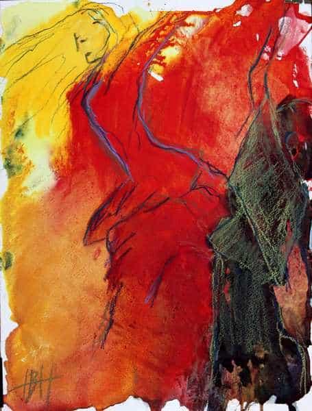 Akvarelmaleri i røde og gule farver af flamencodansere