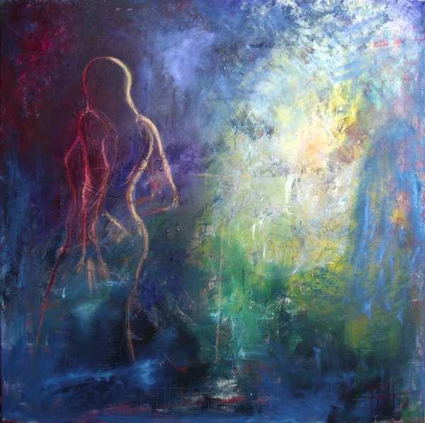 maleri i blå farver med lys og mørke. En kvinde danser hen mod lyset