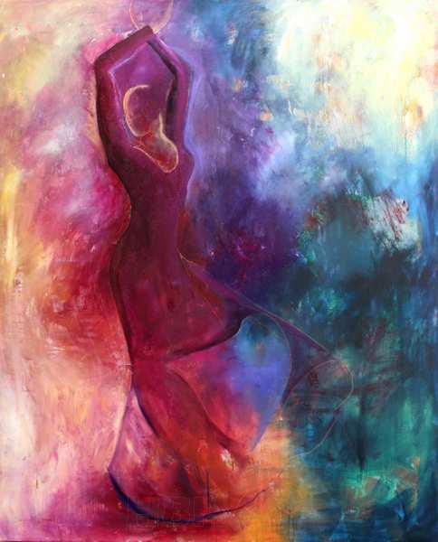 maleri af flamencodansern i violet og blå farver