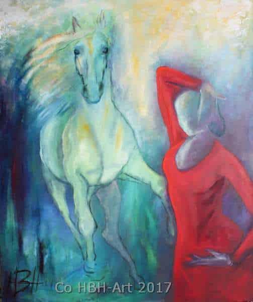 Stort maleri af flamencodanser og hest. Hesten er hvid på blå baggrund og danseren er i rød kjole