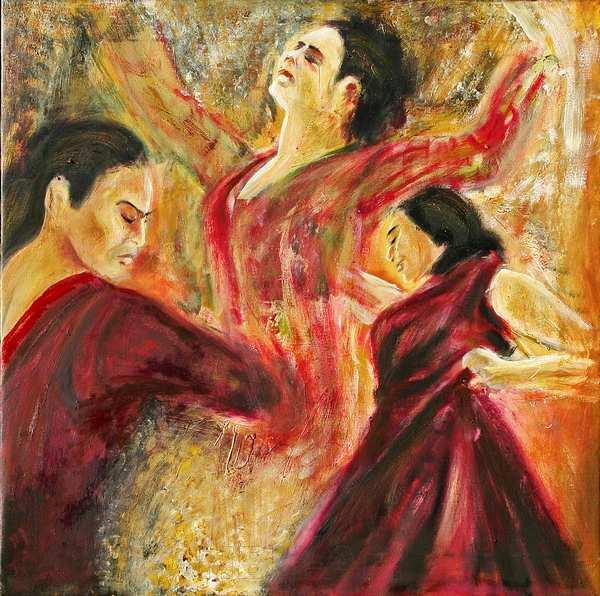 maleri af tre flamencokvinder